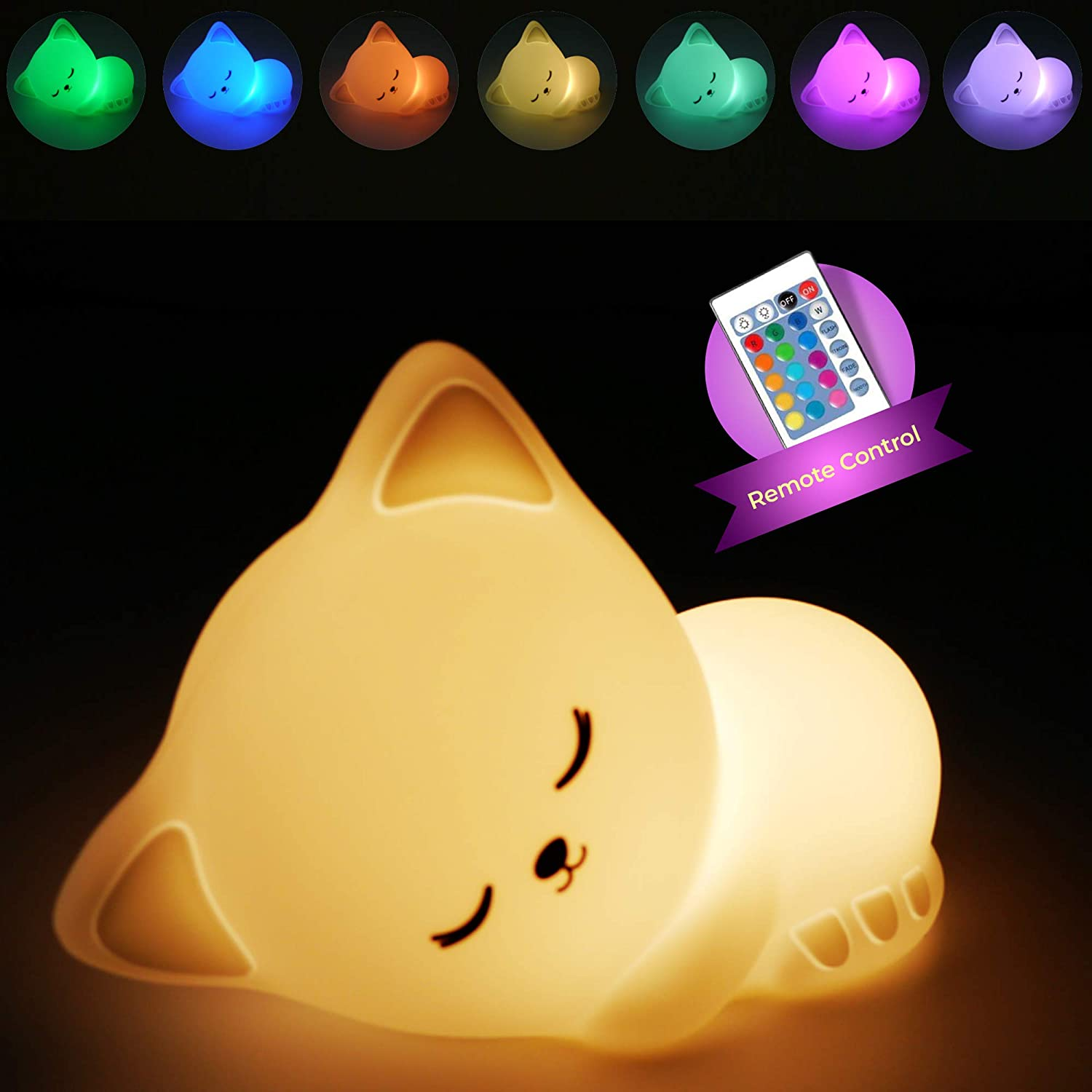 Cute Squishy Kitty Night Light - Silicon Lovely Kitten Pets Nursery Color Changing LED Decor Sleep Cat Lamp Lights with Touch Sensor and Remote Control for Kids, Childrens, Toddler, Baby, and Girls