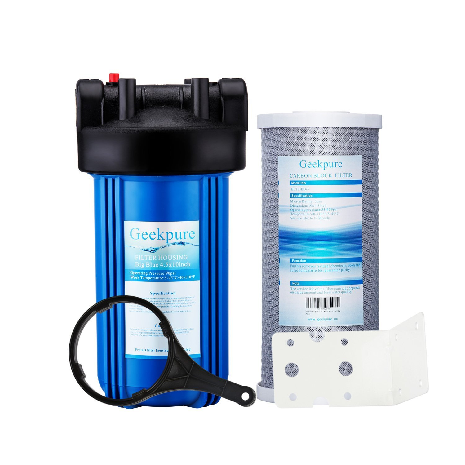 """Geekpure Single Stage Whole House Water Filtration System w/ 10-Inch Big Blue Housing 1""""NPT and 4.5""""x 10"""" Carbon Block Filters -5 Micron"""