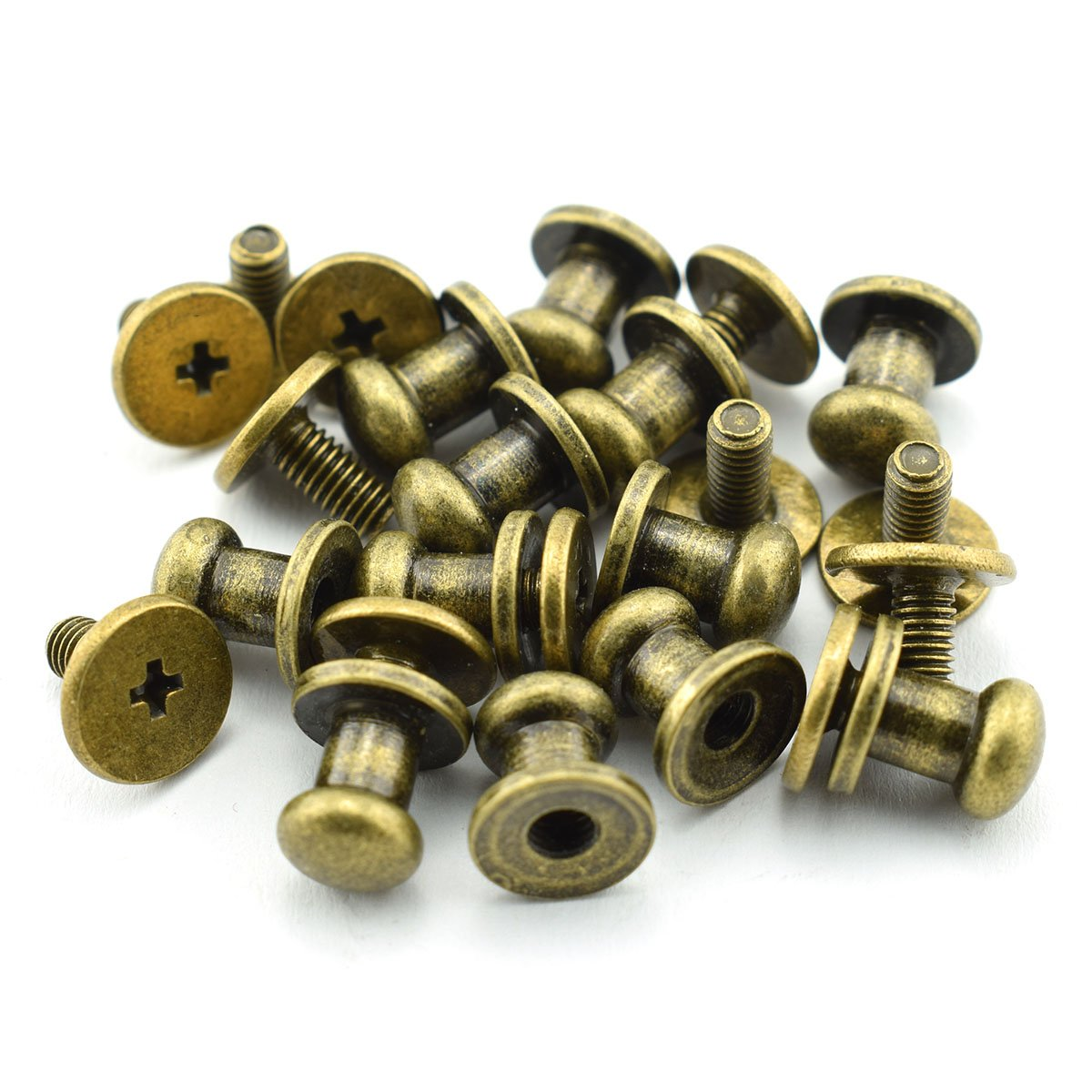 LQ Industrial 12 Pack Bronze Round Phillips Head Button Stud Screws 6x8x8mm Chicago Screws Nail Rivet For DIY Leather Craft