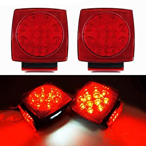 "iBrightstar 12V Submersible Square Trailer Tail LED Light kit Super Bright Brake Stop Tail License Lights for Camper Truck RV Boat Snowmobile Under 80"" Inch Marine, Red/White"
