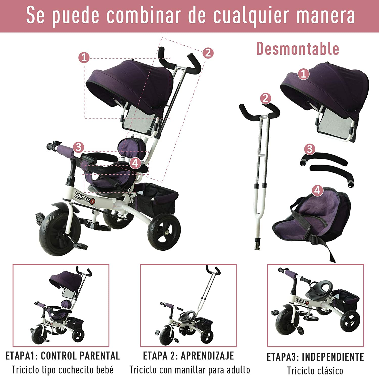 HOMCOM Triciclo para Bebé 2 en 1 Bicicleta para +18 Meses con Capota Manija de Empuje Ajustable Barra Extraíble Reposapiés Plegable Canasta de Almacenaje 92x51x110 cm Morado: Amazon.es: Juguetes y juegos