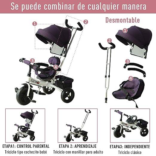 HOMCOM Triciclo para Niños con Capota Desmontable y Plegable para Mayores de 18 Meses Incluye Barra Telescópica para Los Padres Certificado EN71-1-2-3 ...