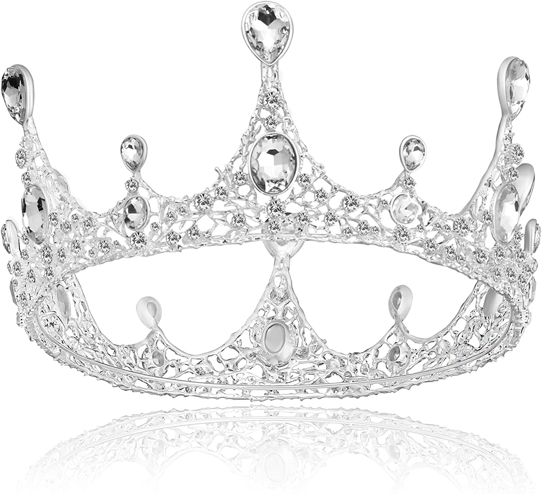 Coucoland di lusso corona di compleanno Tiara da sposa decorata con perle di cristallo corona da regina per costume di carnevale corona da principessa
