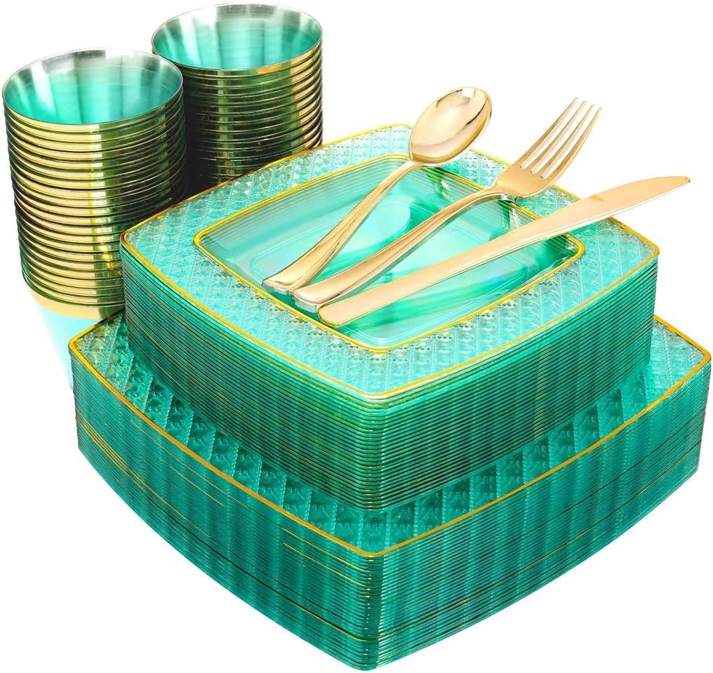 Nervure 150PCS Clear Green Plastic Plates - Gold Square Plastic Plates include 25 Dinner Plates, 25 Dessert Plates, 25 Cups, 25Forks, 25Knives, 25Spoons for Party & Wedding(Mint)