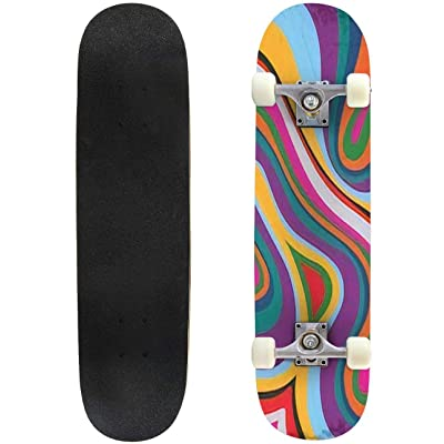 Classic Concave Skateboard Psychedelic Style 1960s Background Vintage Color Wavy Lines Abstract Longboard Maple Deck Extreme Sports and Outdoors Double Kick Trick for Beginners and Professionals : Sports & Outdoors