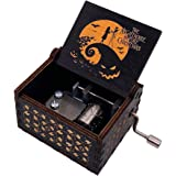 Youtang Hand Crank Musical Box The Nightmare Before Christmas Carved Wood Music Box Painted Musical Gifts for Fans…