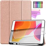ESSTORE-EU iPad 7th Generation Case, New iPad 10.2 Case 2019 with Pencil Holder, Lightweight Smart Cover with Soft TPU Back [Auto Sleep/Wake][Screen Protector] - Rose Gold