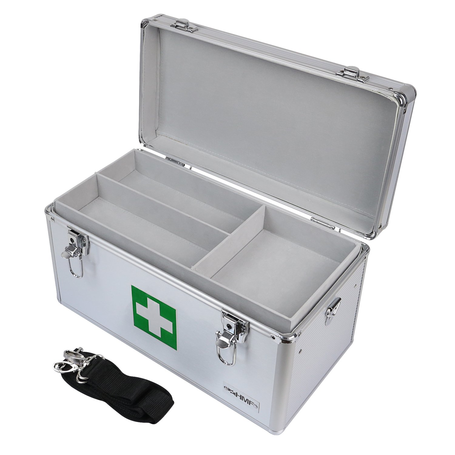 HMF 14701-09 First Aid Box, Medical Box, Carrying Handle, Carry Strap, Aluminium, 40 x 22,5 x 20,5 cm