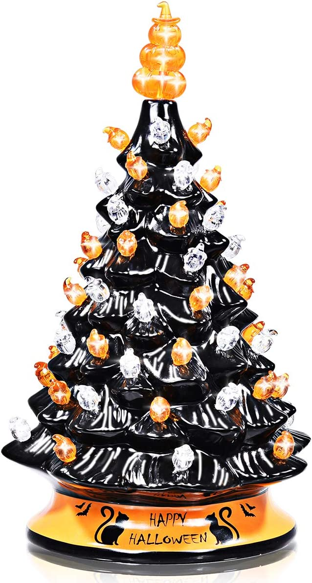 DREAMADE Hand-Painted Black Christmas Tree, 15 inch Battery Powered Tabletop Ceramic Halloween Xmas Decor, with 12 Built-in Lights, Forever Lighted Holiday Centerpiece