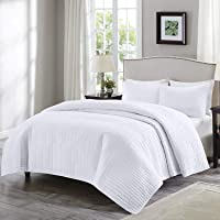 Comfort Spaces Quilt Coverlet Bedspread Ultra Soft Hypoallergenic Microfiber Stitched Bedding Set