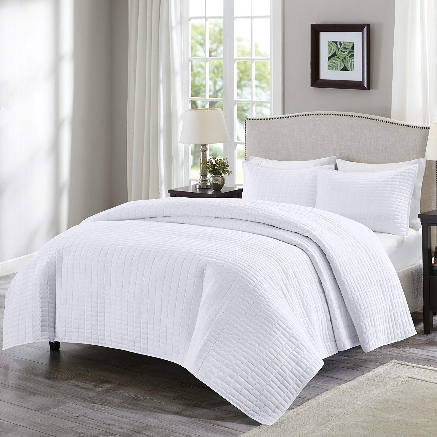 Comfort Spaces Kienna 3 Piece Quilt Coverlet Bedspread Ultra Soft Hypoallergenic Microfiber Stitched Bedding Set, Full/Queen, White