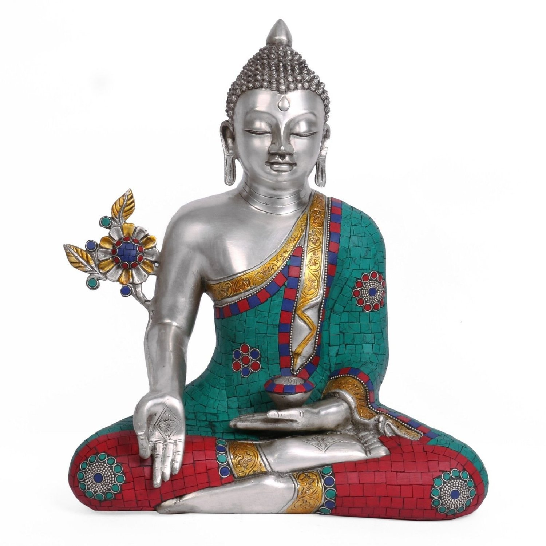 Aone India 15'' Buddha Idol Brass Silver Gold Polish Medicine Healing Buddha Statue Home Decor Gifts + Cash Envelope (Pack Of 10)