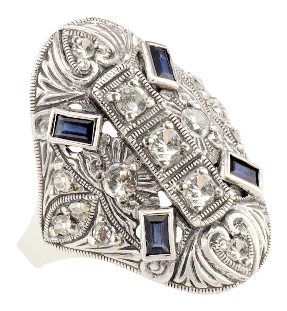 Art Deco Style Sterling Silver Cubic Zirconia & Sapphire Cocktail Ring (Sz 7)