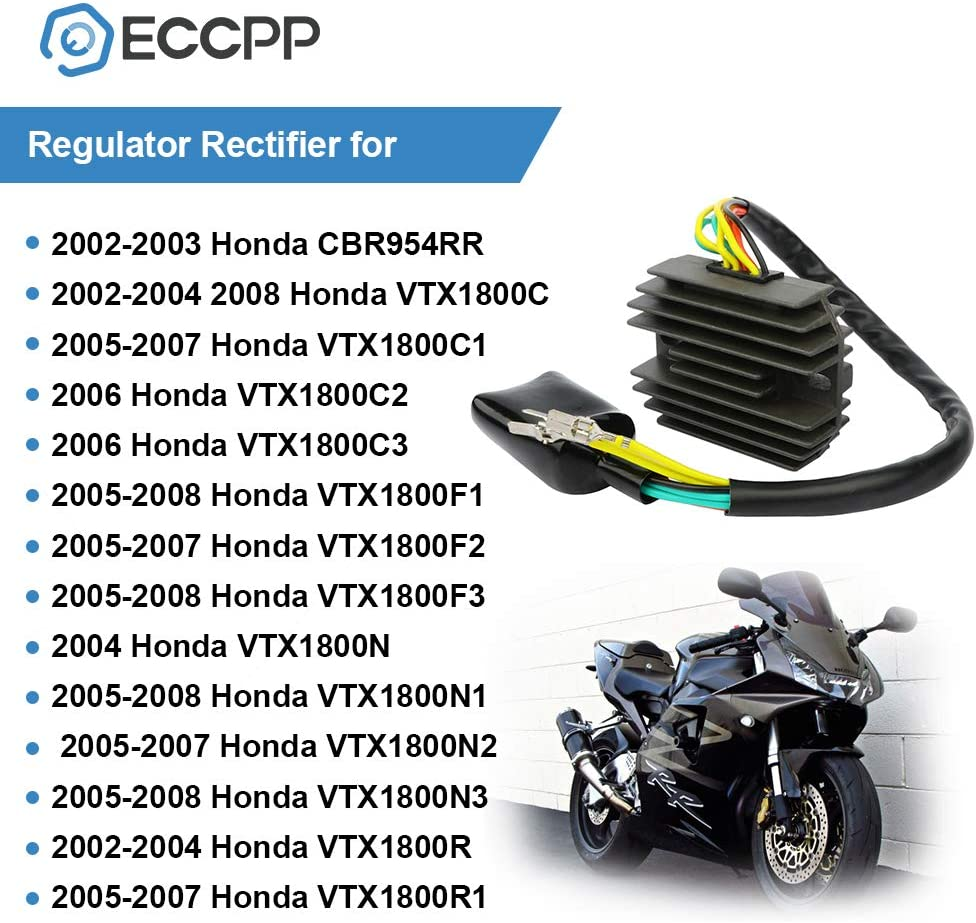 ECCPP Voltage Regulator Rectifier Fit for Honda CBR954RR VTX1800C VTX1800F1 VTX1800F2 VTX1800F3 VTX1800N VTX1800N1 VTX1800N2 VTX1800N3 VTX1800R VTX1800S 31600-MCH-000 Rectifier Regulator