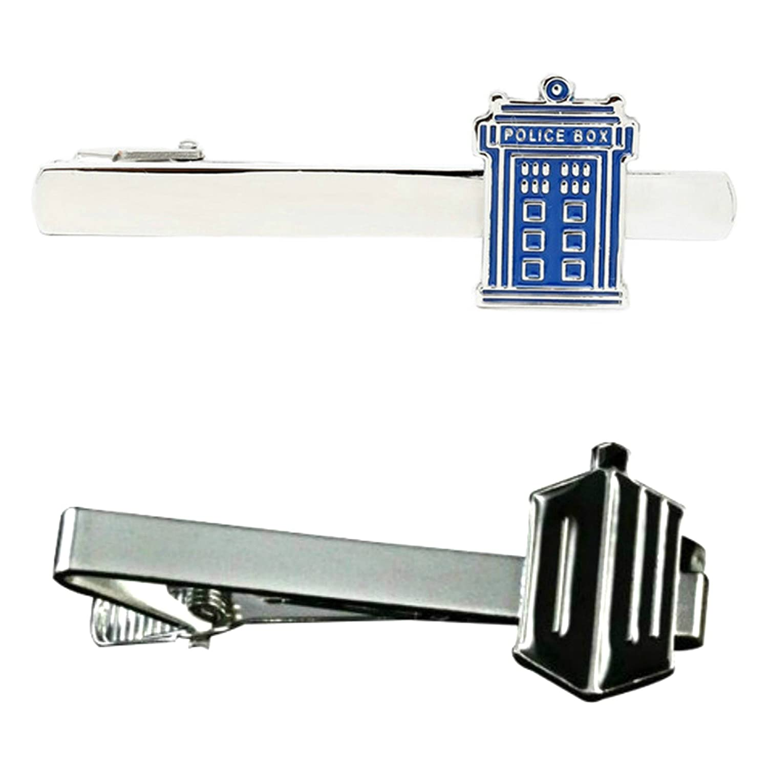 Outlander TARDIS & Doctor Who DW - TV Series - Tiebar Tie Clasp Set of 2 Wedding Superhero Logo w/Gift Box Outlander Brand