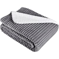 Langria Soft Chunky Ribbed Flannel Blanket