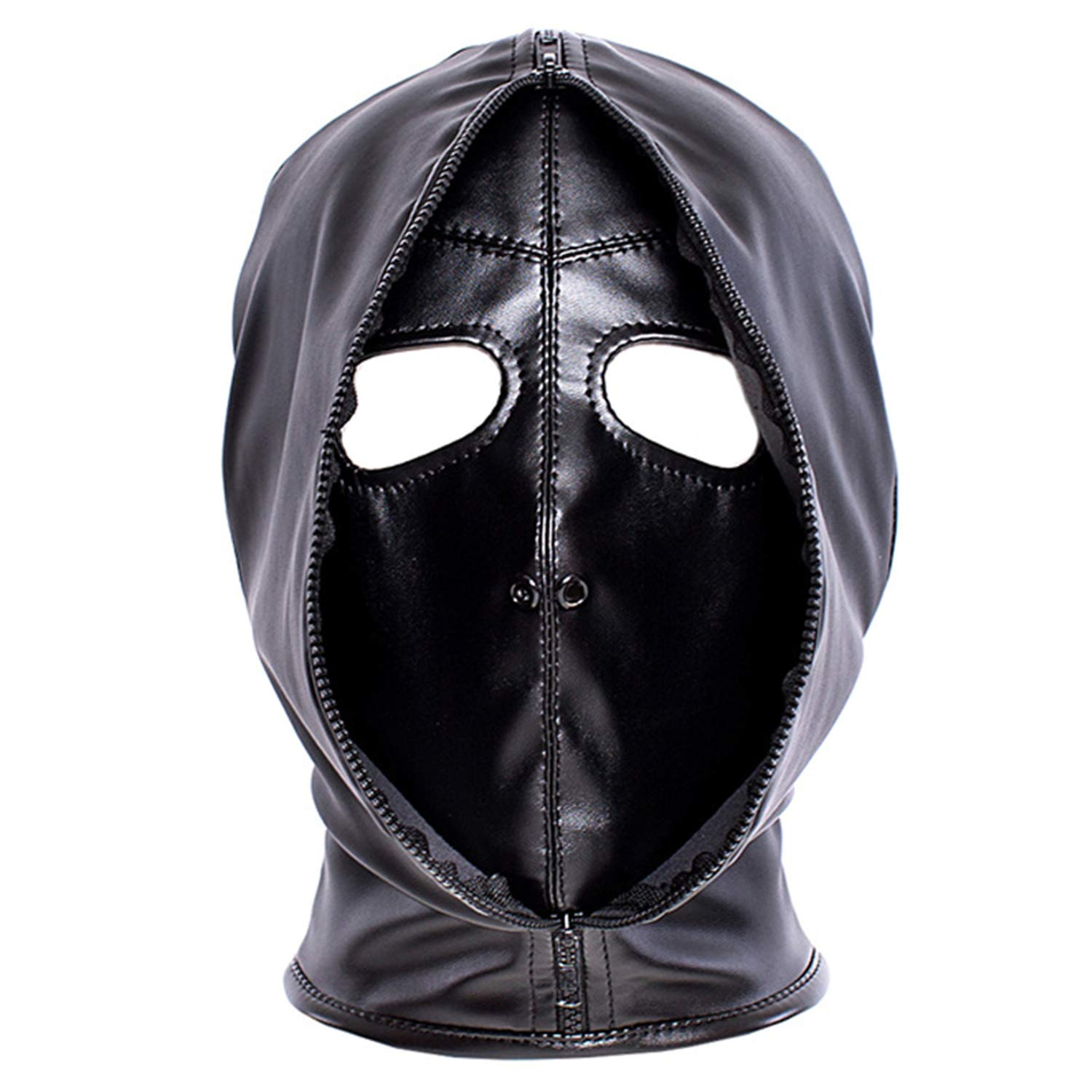 Leather Costume Head Mask Hood - Cosplay Black Soft Leather Mask Full Face Mask Nose Holes Breathable Unisex Halloween Masquerade Mask (Male size)
