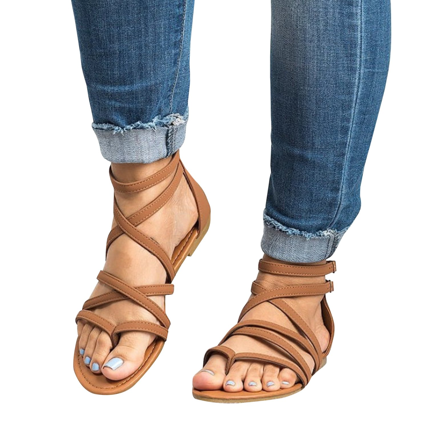 Womens Gladiator Strappy Flat Thong Criss Cross Ankle Wrap Summer Beach Sandals (12 B(M) US, a-Brown)