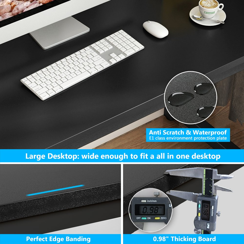 Tribesigns Computer Desk, 55 inch Large Office Desk Computer Table Study Writing Desk for Home Office, Black + Black Leg by Tribesigns (Image #4)
