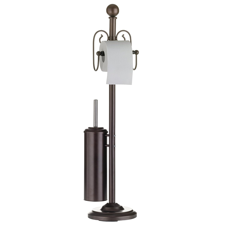 15x15x57 cm Axentia 282082 Porta Carta Igienica da Pavimento con Dispenser per 3 Rotoli Marrone Metallo
