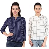 Mallory Winston 3/4 Sleeve Window Pane And Navy Stripe Women's Balloon Top.