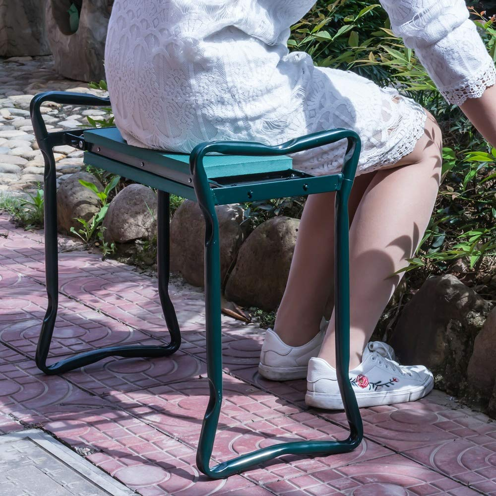 YANEE Foldable Kneeler Garden Bench Stool Soft Cushion Seat Pad Cushion Kneeling, Tool Pouch, Material: Steel Pipe, EVA, Dimensions: 22 3/4'' W × 11'' D × 19 1/3'' H by YANEE (Image #3)