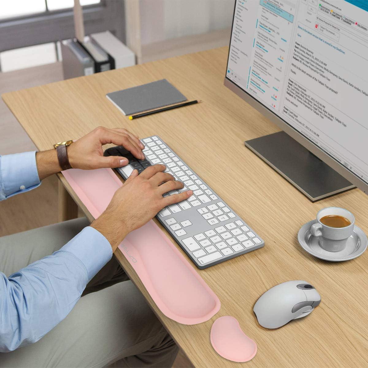 Ergonomico Pelle Wrist Rest Cuscinetto di Supporto per Palmi e Polsi per Computer Portatile Notebook ELZO Poggiapolsi per Mouse e Tastiera con Memory Foam PC e Computer Mac Book
