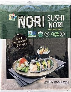 Kosher Organic 10 Full Size Sheet KIMNORI Sushi Nori Premium Roasted Seaweed Rolls Wraps Snack 0.88 OZ ( 25g ) Laver, USDA ORGANIC, Gluten Free, No MSG, NON-GMO, Vegan, Kosher (10 Sheet)