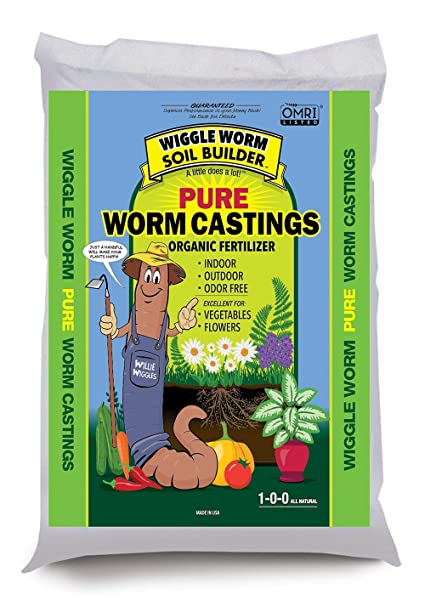 Unco Industries (WWSB15LB) Wiggle Worm Soil Builder Earthworm Castings  Organic Fertilizer, 15-Pound