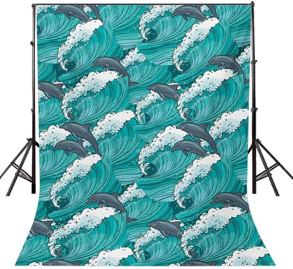 Sea Animals 6.5x10 FT Photo Backdrops,Wavy Ocean with Dolphins Windy Surfing Doodle Style Art Print Background for Photography Kids Adult Photo Booth Video Shoot Vinyl Studio Props