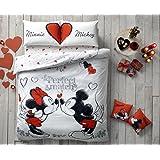 exclusif de Saint-Valentin Cadeau Original licence double Queen Disney Mickey et Minnie Perfect Match 100% coton Ranforce Housse de couette Parure de lit 4pièces