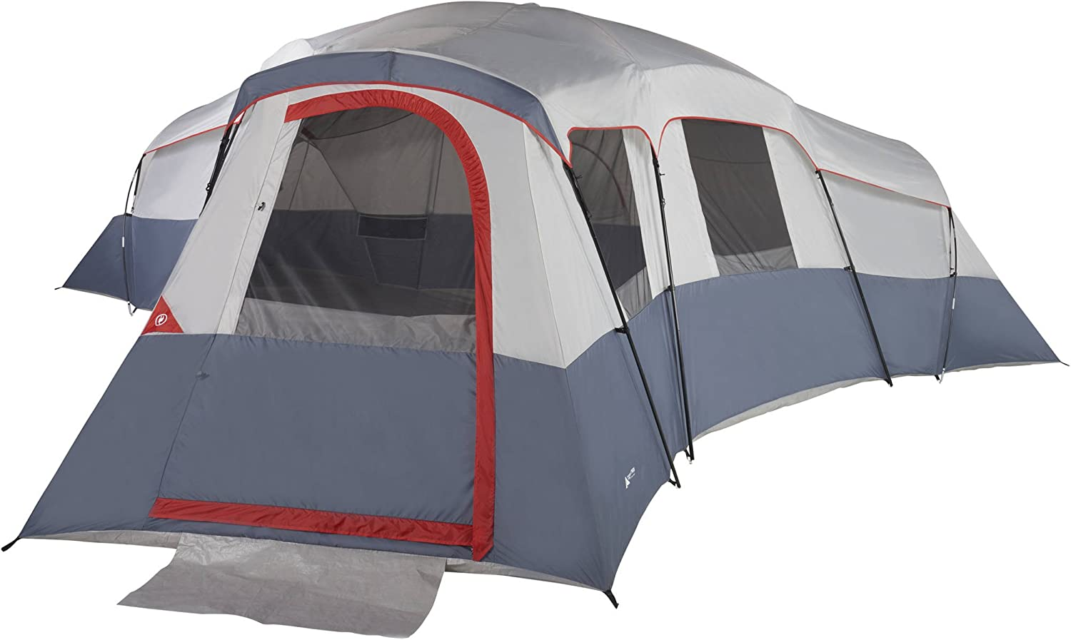 This is a photo of a tent, D-shaped screen door facing the front.