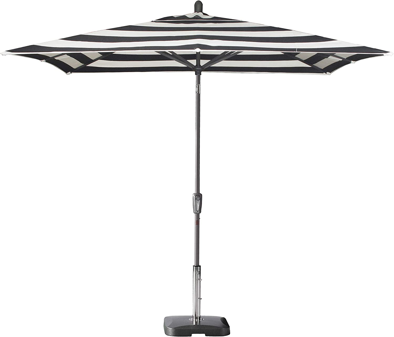 Secret Garden Home Goods Pismo Dawn 9 x 7 Rectangular Premium Push Tilt Market Umbrella Starring Grey, Polyester- Black Stripe