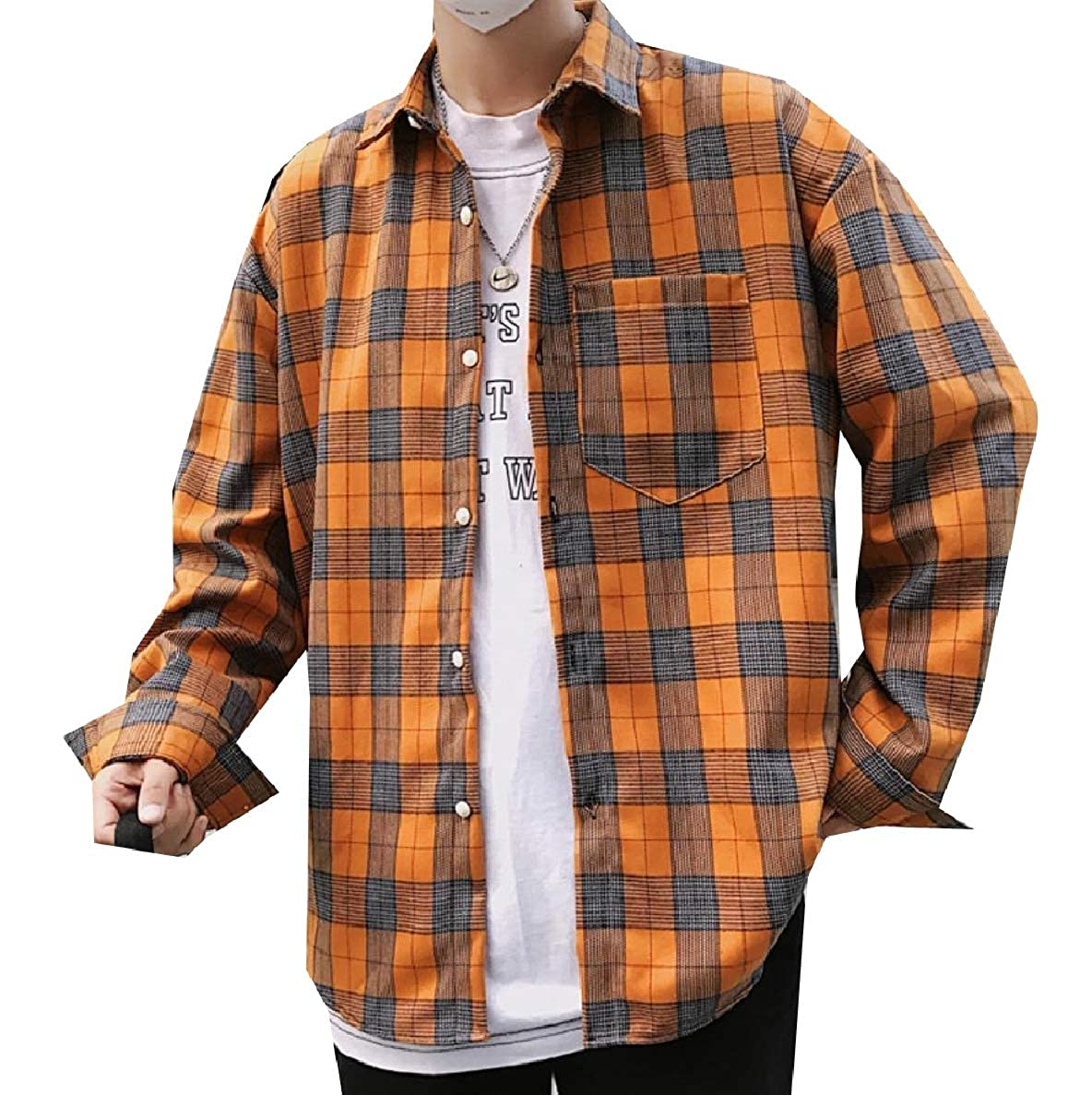 Winwinus Mens Long Sleeve Plaid Relaxed Pocket Front Shirt Blouse Tops