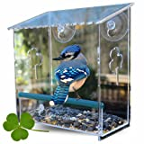 Window Bird Feeder Best for Small and Large Wild Birds. Birdhouse is Clear, Window Mounted, See Through, Squirrel Resistant, Easy to Install, Drainage Holes & Beautiful Packaging. Makes a Great Gift!