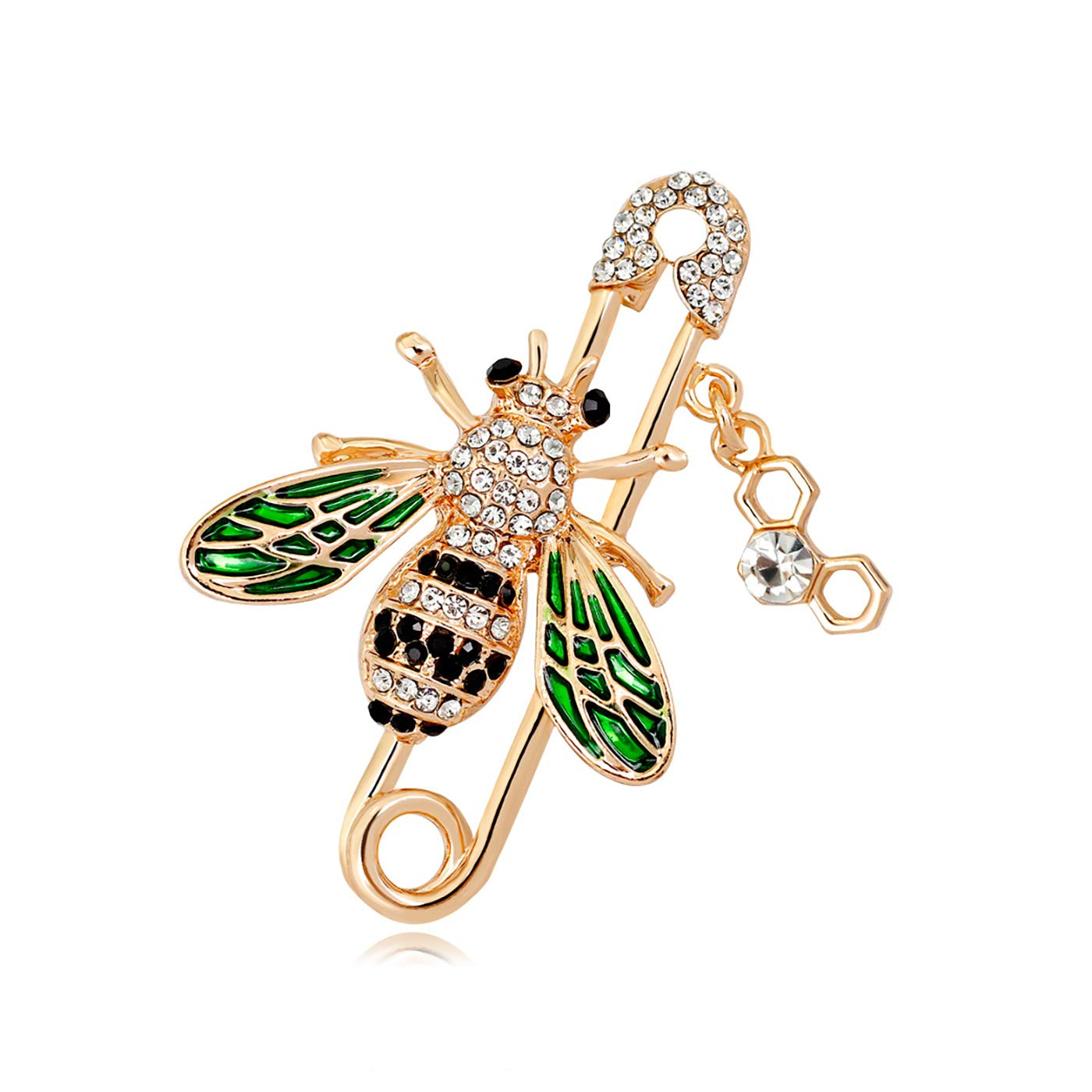 YOQUCOL Cute Honeybee Bee Brooch Pin Cubic Zirconia CZ Crystal Enamel Golden Tone for Women AXS010