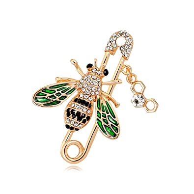 7ed862d33 QUKE Cute Honeybee Bee Brooch Pin Cubic Zirconia CZ Crystal Enamel ...