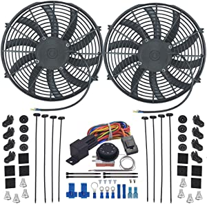 """American Volt Dual Reversible 12V Electric Engine Radiator Cooling Fan & Adjustable Thermostat Switch Kit (14"""" Inch)"""