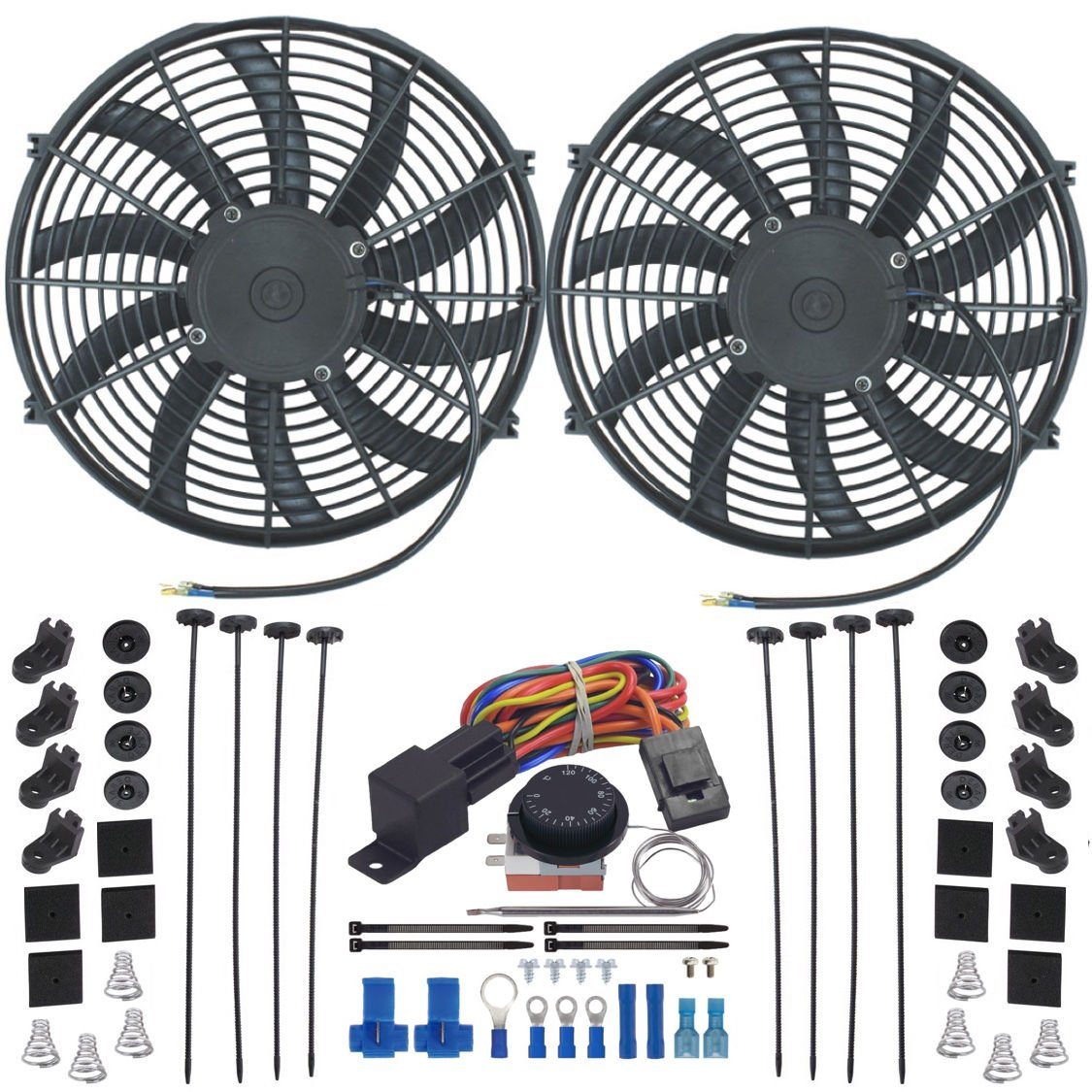 American Volt Dual 14' Inch Electric Radiator Fan-s Adjustable Thermostat Control Switch Kit