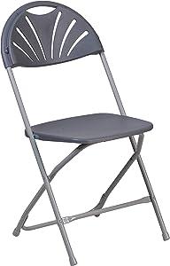 Flash Furniture HERCULES Series 650 lb. Capacity Charcoal Plastic Fan Back Folding Chair