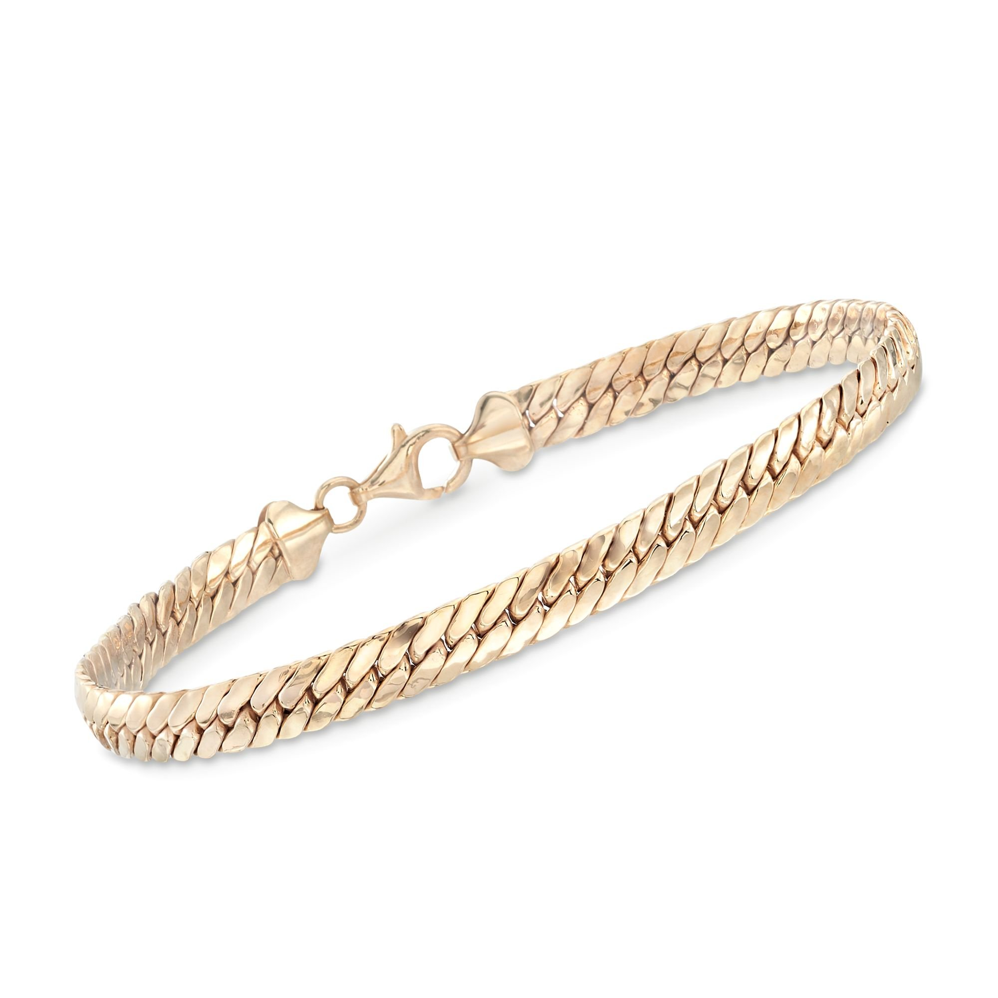 Ross-Simons 18kt Yellow Gold Over Sterling Silver Flat Cuban-Link Bracelet