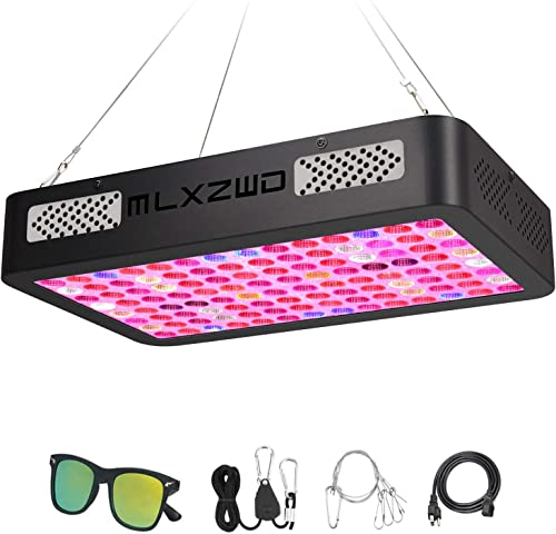 MLXZWD 1000W LED Grow Light Full Spectrum Dual Chips Reflection Cup Design Plant Lamp, with Veg Bloom Switchs, Adjustable Rope, UV IR for Hydroponic Veg and Flower