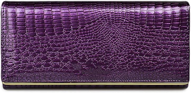 Women Genuine Leather Wallet Female Hasp Alligator Cowhide Long Wallet Cards Holder Clutch Bag Fashion Ladies Purses,Wallet Wine Red