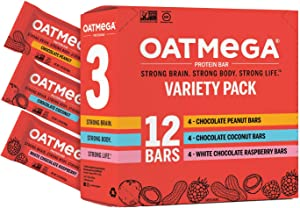 Oatmega Protein Bars, Variety Pack, 12-Count of Chocolate Peanut Butter, White Chocolate Raspberry and Chocolate Coconut,(Pack of 1)