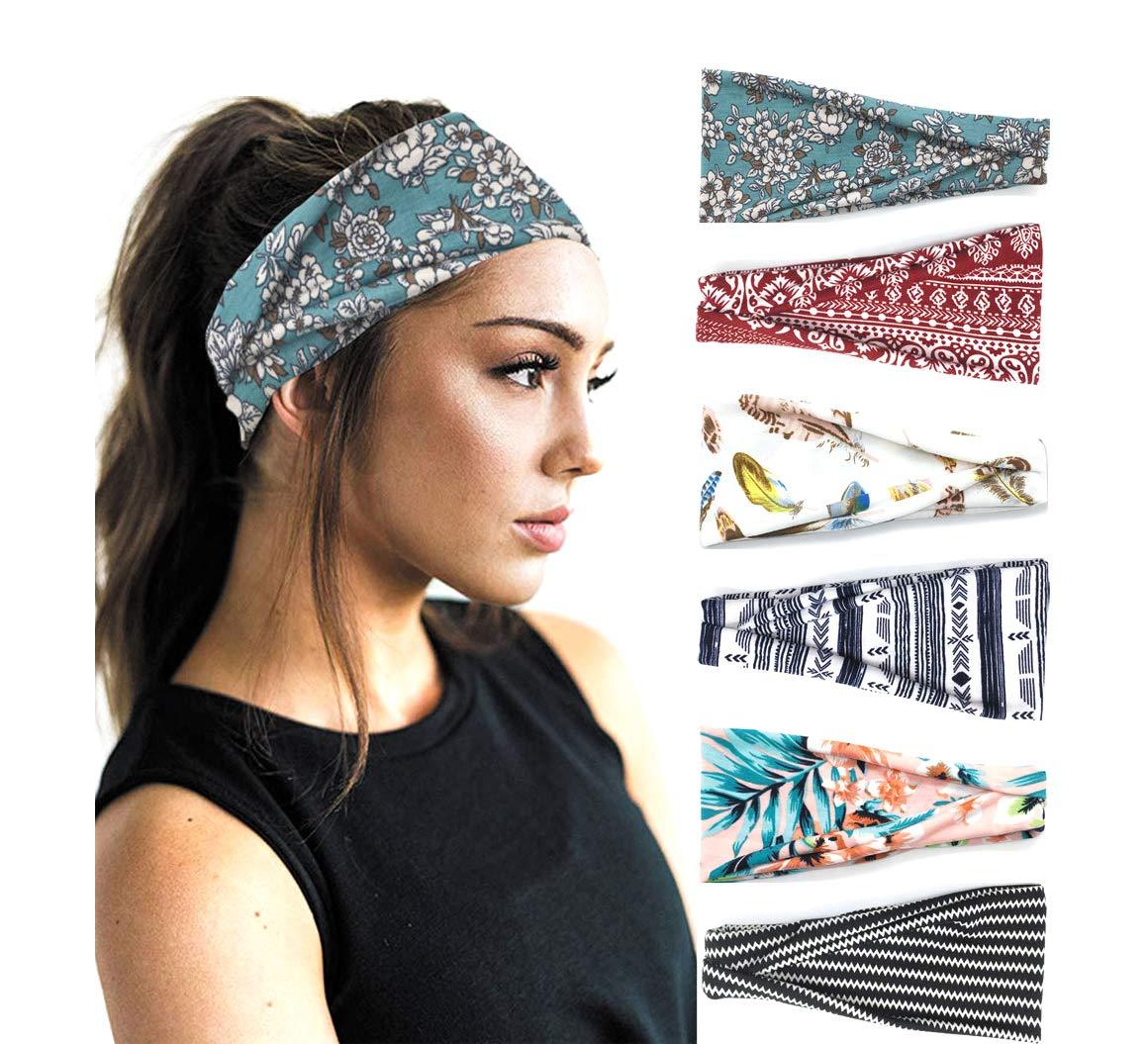 PLOVZ 6 Pack Women's Yoga Running Headbands Sports Workout Hair Bands (Set 10): Beauty