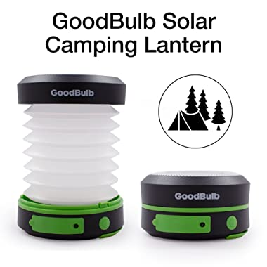 GoodBulb Compact Solar Lantern - Collapsible Lantern - Camping Accessories - Solar Lights - LED Rechargeable Light - USB Power Bank