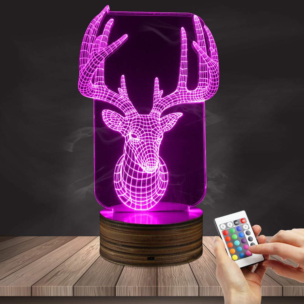 Deer 3D Optical Illusion Table Desk Lamp Animal Modern Night Light LED Color Changing Light Hunting Gift