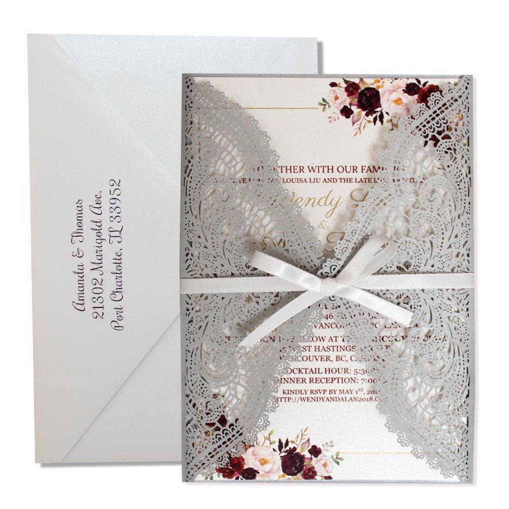 Amazon Elegant Lace Wedding Invitations Blank Invitation Cards Laser Cut Set Of 50 Pcs Silver Health Personal Care: Blank Wedding Invitation Cards At Websimilar.org