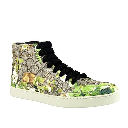 ad55c84d1d Gucci Bloom Print Supreme GG Green Canvas Hi Top Sneakers Shoes 407342 8960