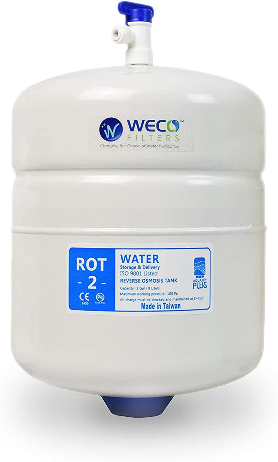 6 Gal Usable Capacity Total Capacity 10 Gal /& appx ROT-10-W Pressurized RO Water Storage Tank